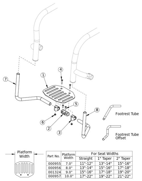 Rigid Angle Adjustable Flip Under Footrest parts diagram