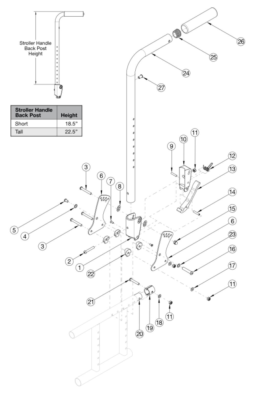 Spark Stroller Handle Back Post parts diagram