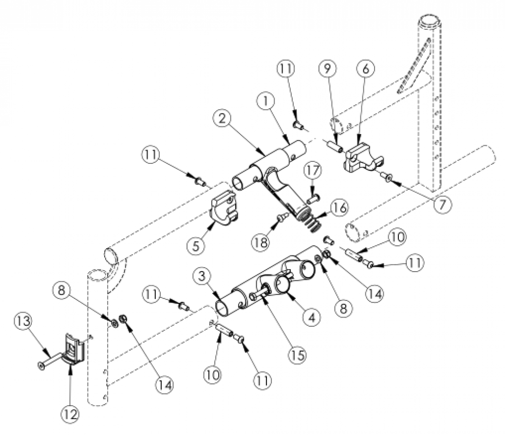 Catalyst 4 Side Frame Assembly - Open Seating (seating System) parts diagram