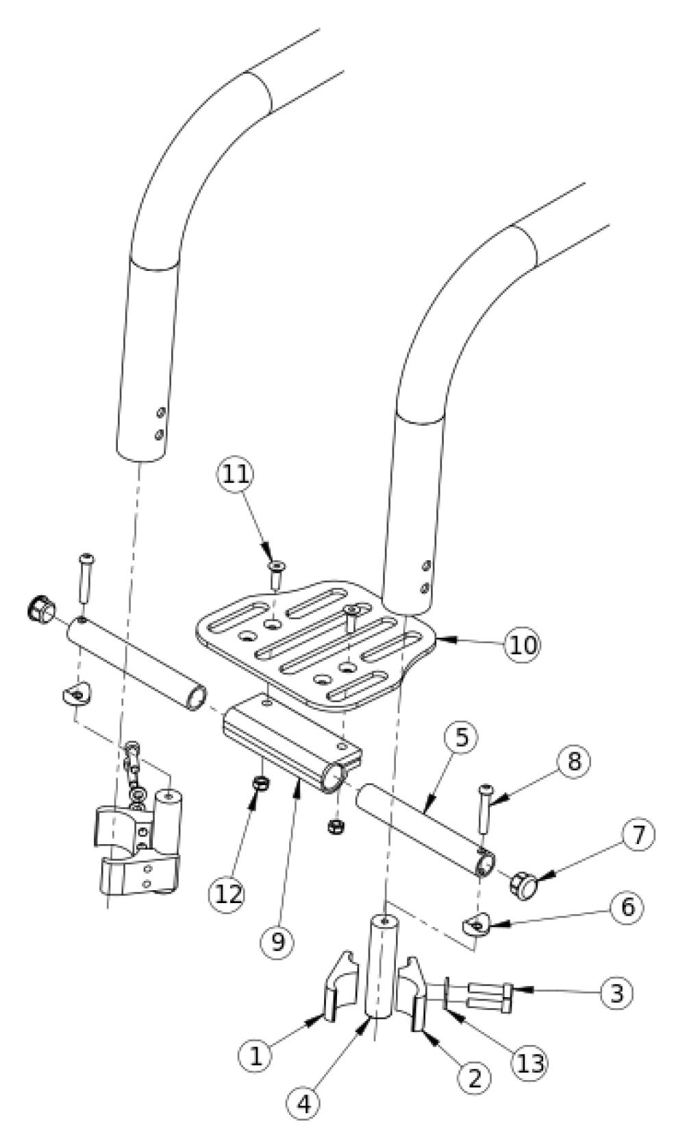 (discontinued) Rigid High Mount Angle Adjustable Footrest 10