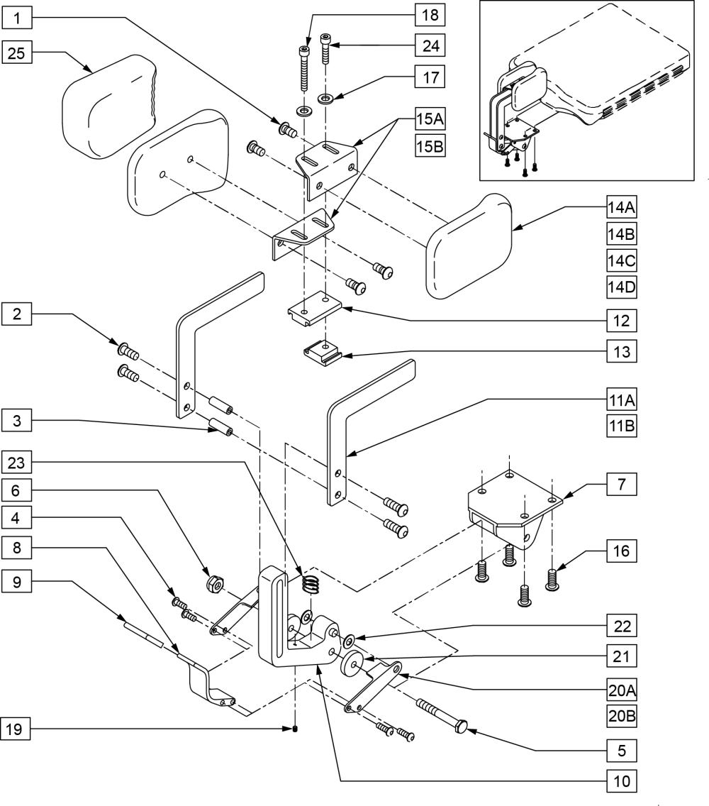 Standard Hip Abductors (adjustable Contour) parts diagram