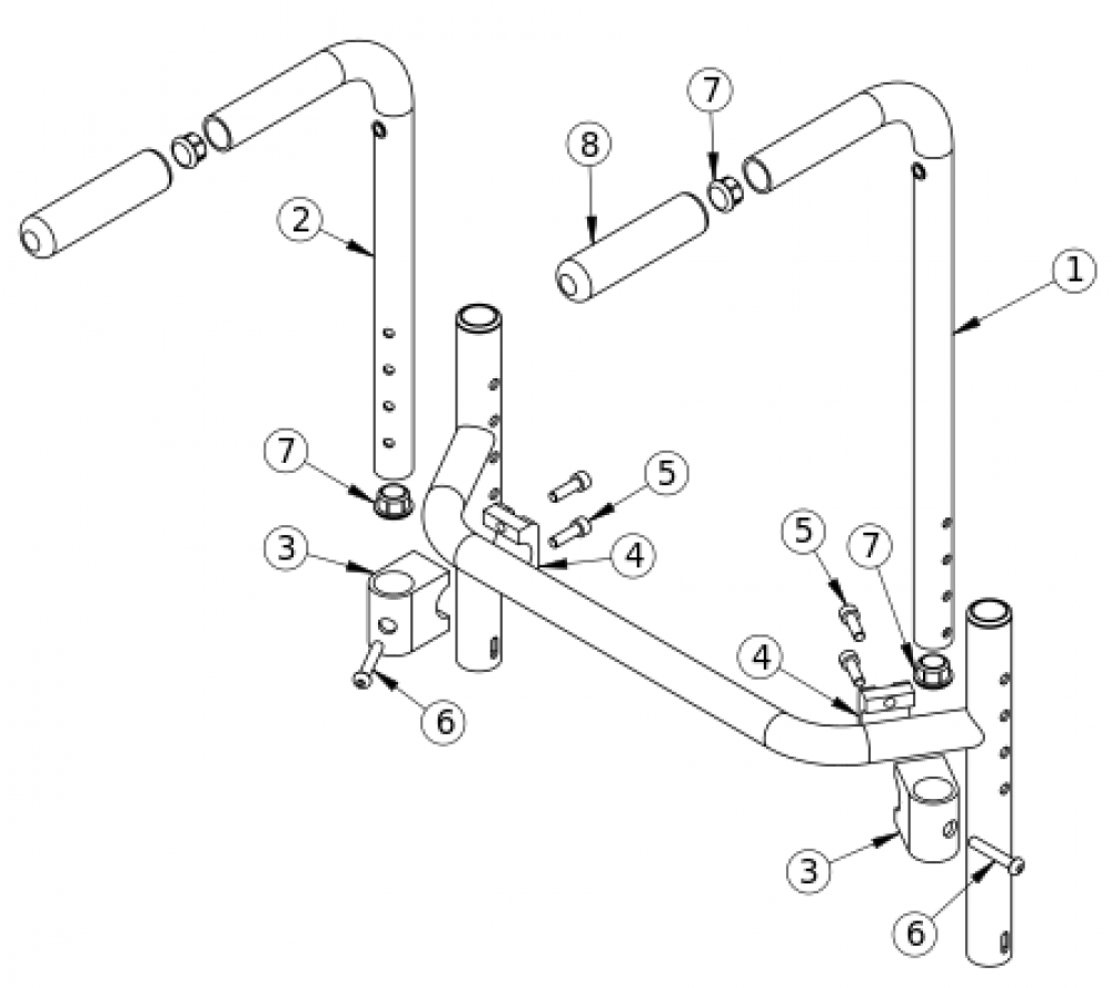 (discontinued) Bolt-on Push Handle Rigid parts diagram