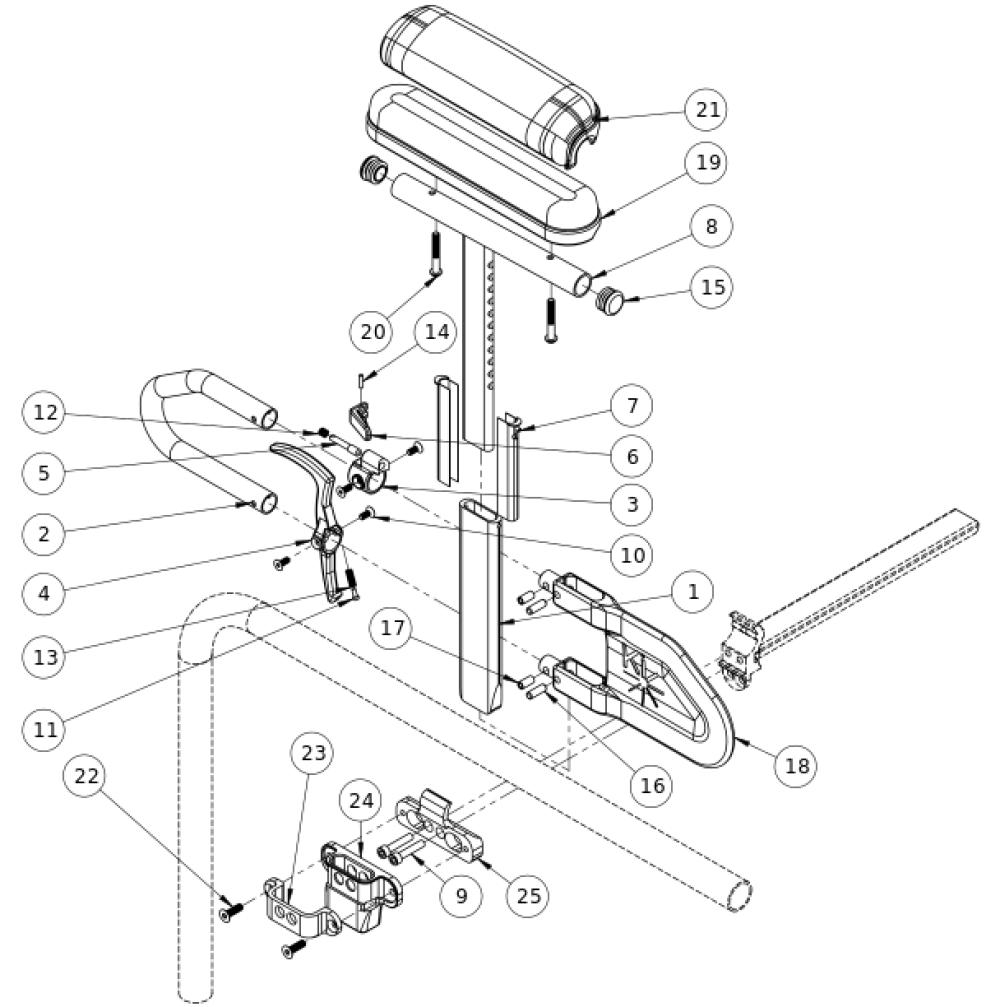 Clik Height Adjustable T-arm parts diagram