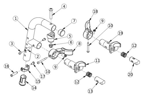 Titanium 80 Degree Extension Mount Hanger parts diagram