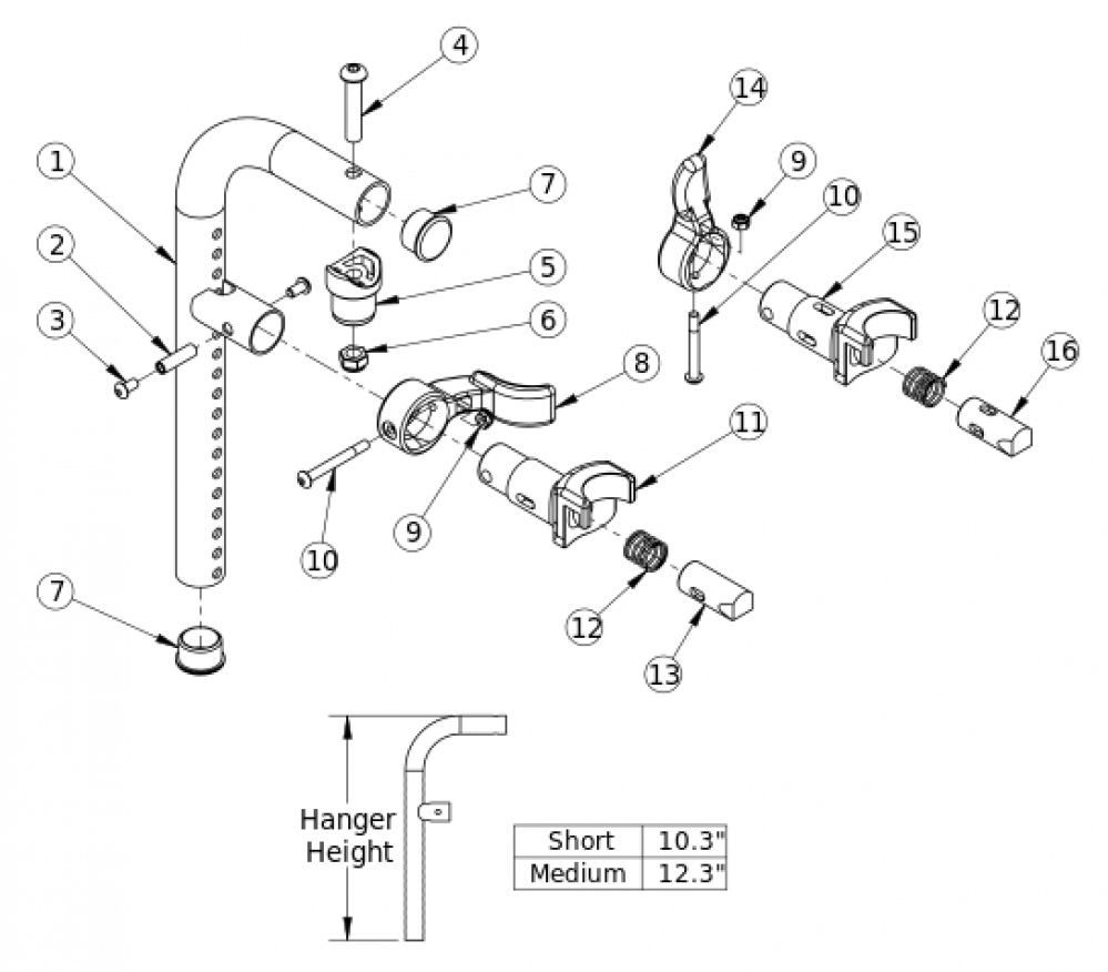 90 Degree Front Mount Hanger parts diagram
