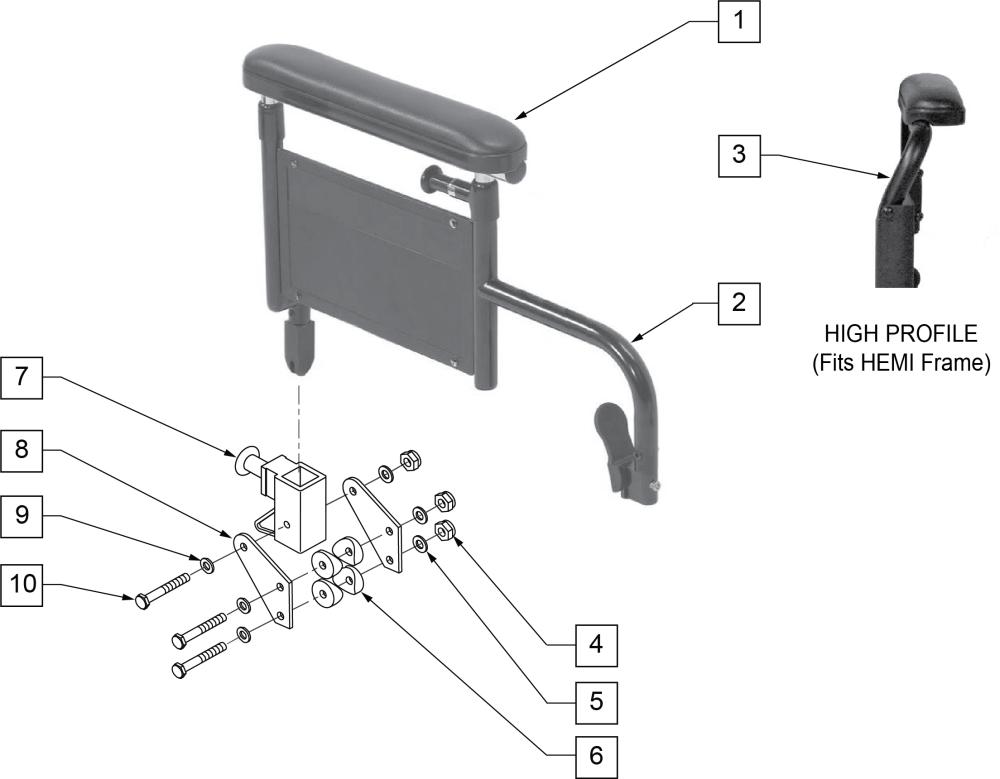 Flip-back Armrest Height Adjustable Desk parts diagram