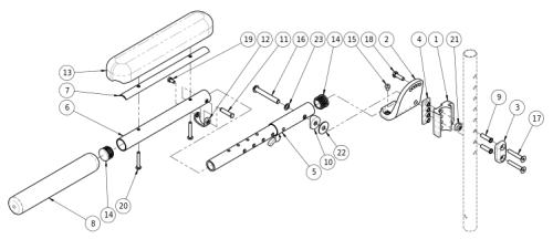 Adult Angle Adjustable Locking Extendable Flip Up Armrest parts diagram