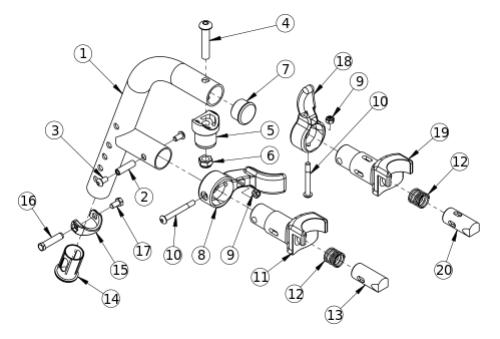 Titanium 70 Degree Extension Mount Hanger parts diagram