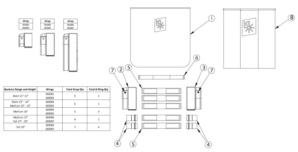 Rigid Tension Adjustable Back Upholstery parts diagram