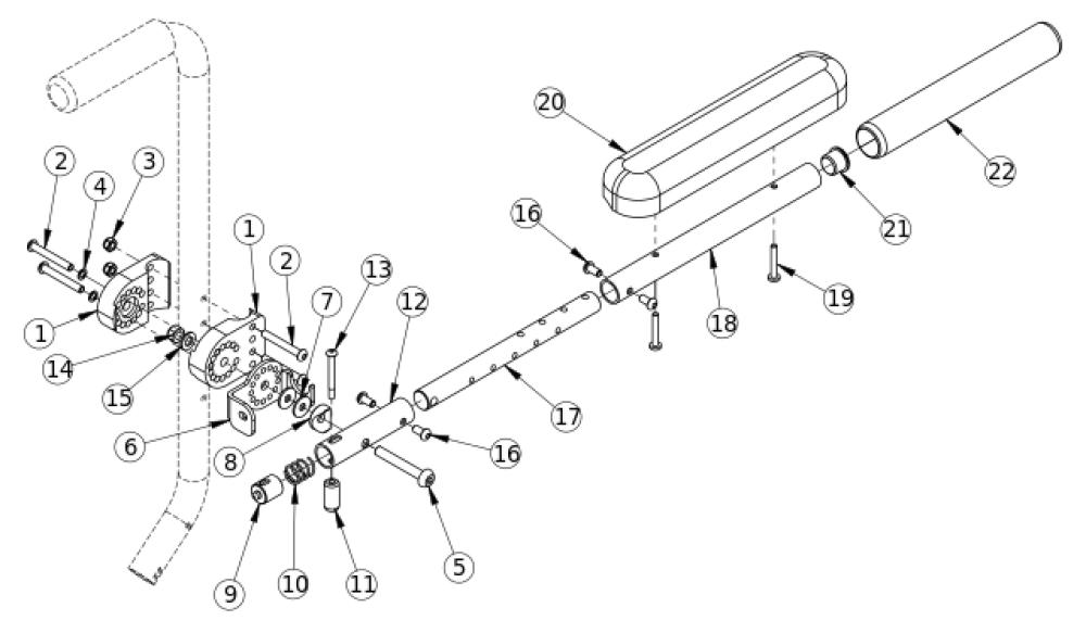 (discontinued) Angle Adjustable Locking Flip Up Extendable Armrest parts diagram