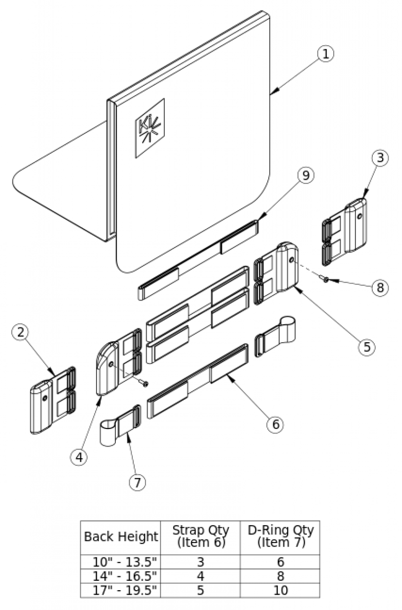 Discontinued 1 Rigid Tension Adjustable Back Upholstery parts diagram