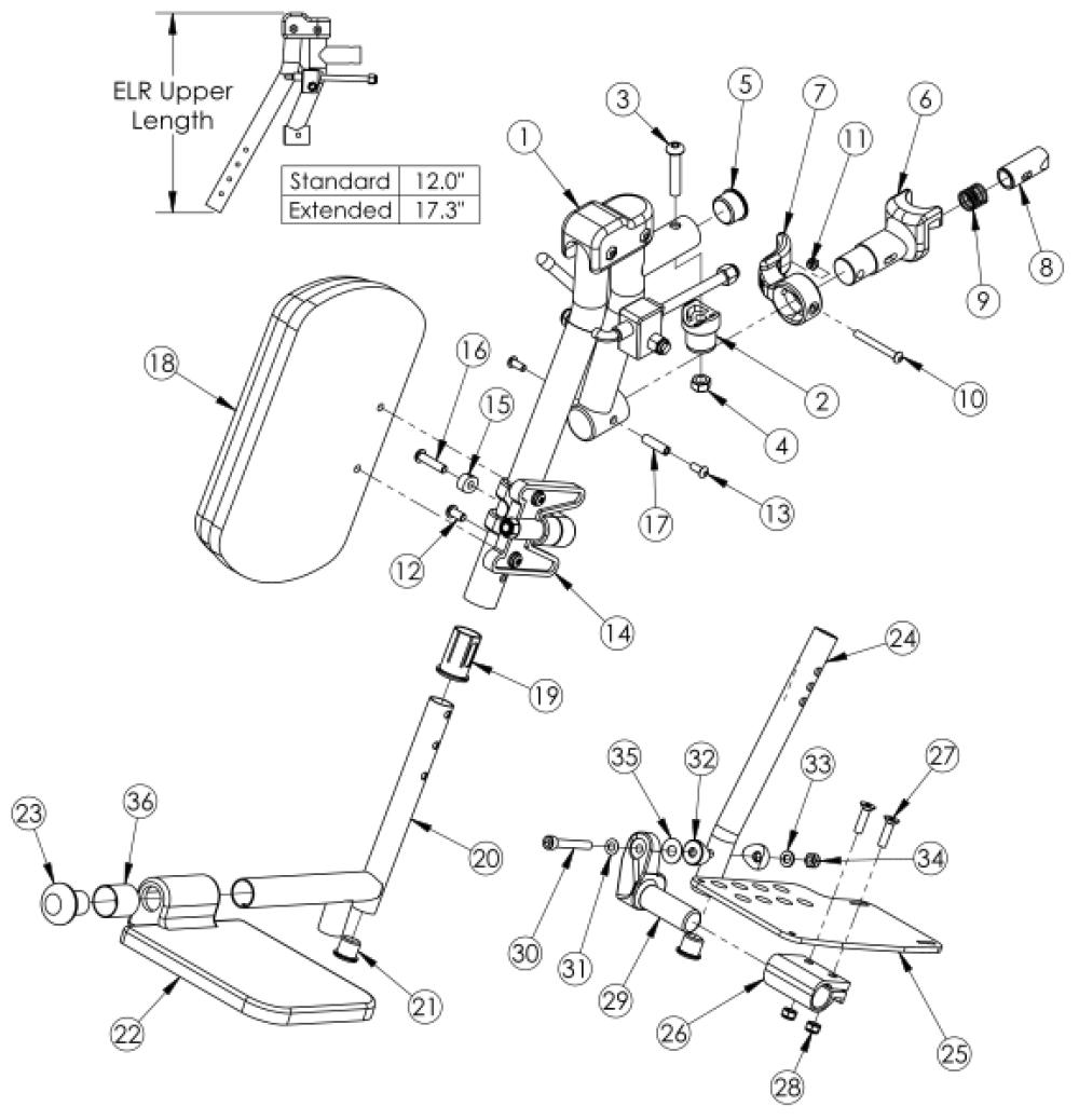 Catalyst 5 / Spark / Tilt Elevating Leg Rest - Complete Assemblies (discontinued) parts diagram