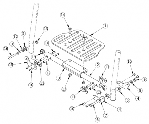 One Piece Flip Up Footplate parts diagram