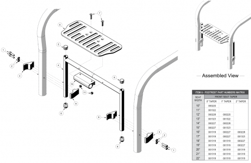 Rigid High Mount Angle Adjustable Footrest parts diagram