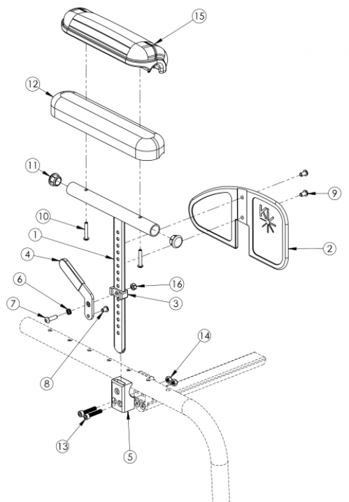 Clik Pediatric Height Adjustable T-arm parts diagram