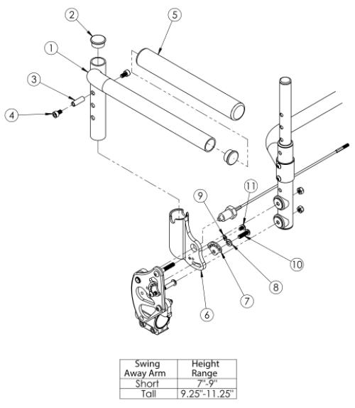 Clik / Rogue Xp Swing Away Armrest parts diagram