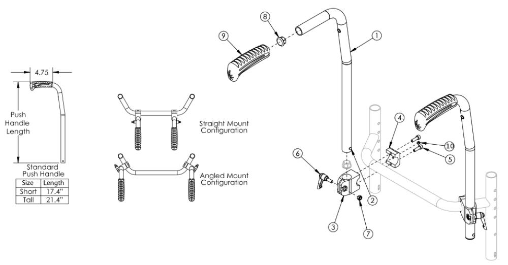 Rigid Stroller Handle parts diagram