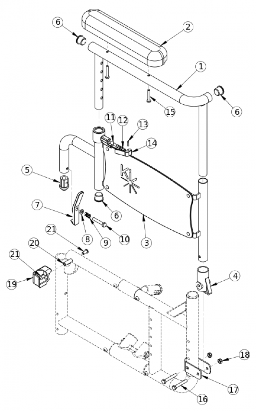 Discontinued Catalyst 4 Height Adjustable Flip Back Armrest parts diagram