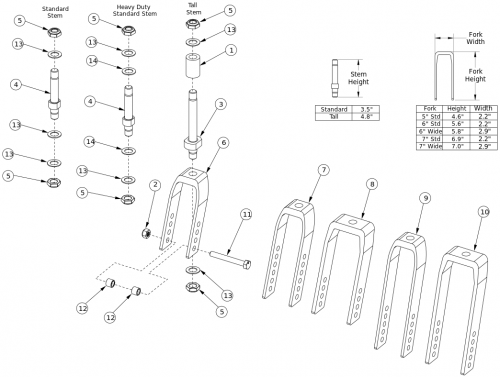 Focus Cr Caster Forks And Stems parts diagram