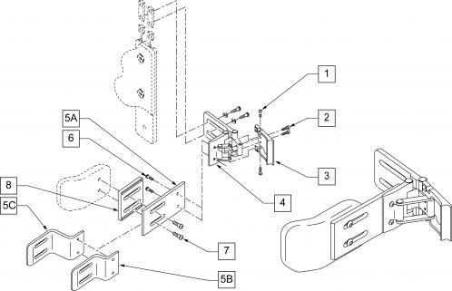 Swing-away Lateral Support parts diagram