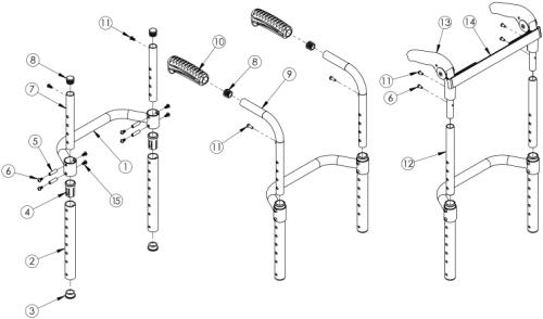 Clik / Rogue Xp Height Adjustable Back Post parts diagram