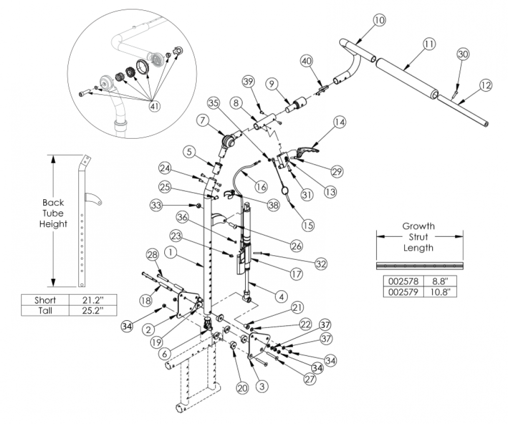 Catalyst Reclining Backrest parts diagram
