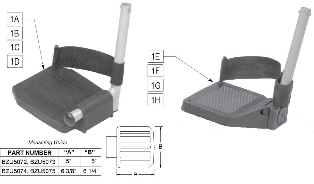 Footrests parts diagram