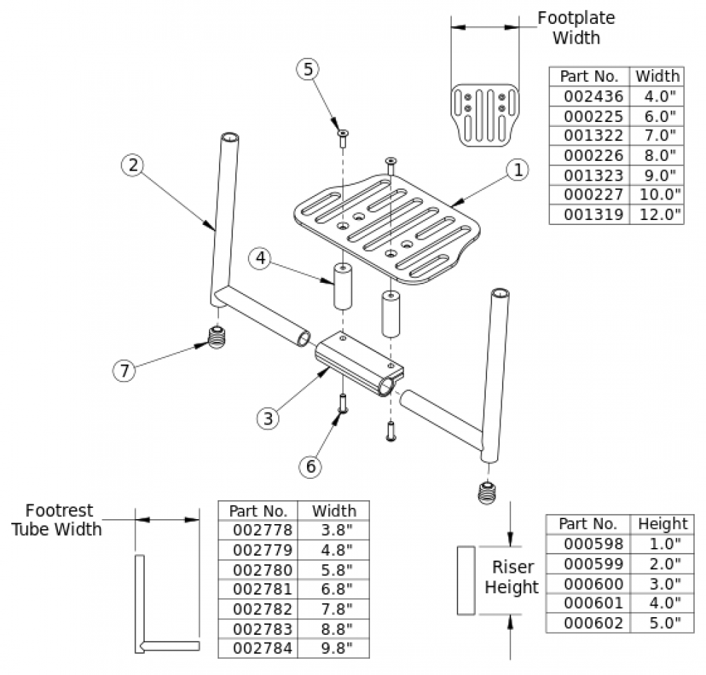 Clik Angle Adjustable Footrest With Riser parts diagram
