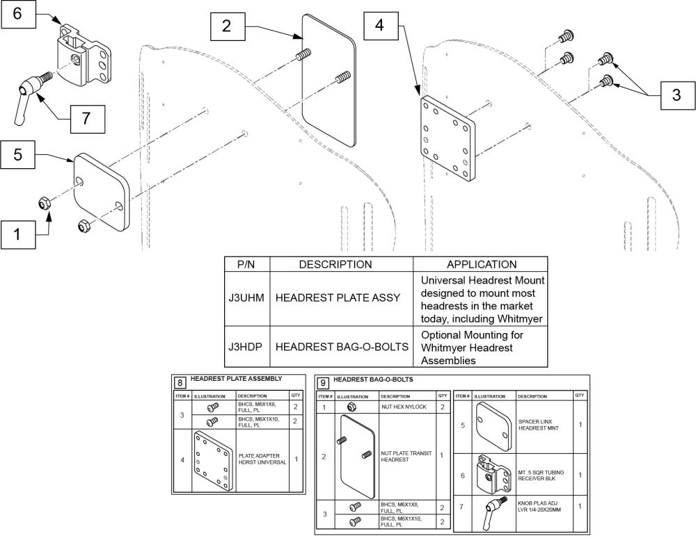 Universal Headrest Mount parts diagram