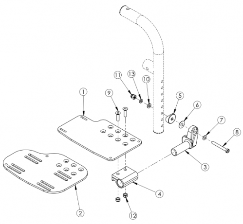 Angle Adjustable Footplate - Front Mount parts diagram