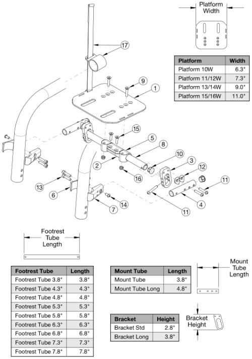 Clik High Mount Angle Adjustable Flip Under Footrest parts diagram
