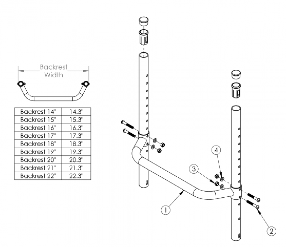 Tsunami Al Fixed Height Backrest With Adjustable Height Rigidizer Bar - Growth parts diagram