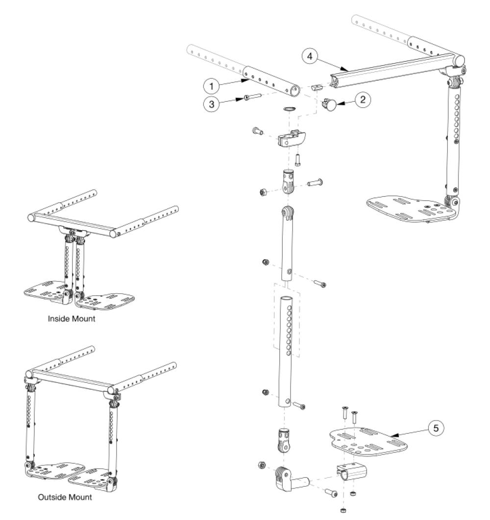 Contracture Footrest - Growth parts diagram
