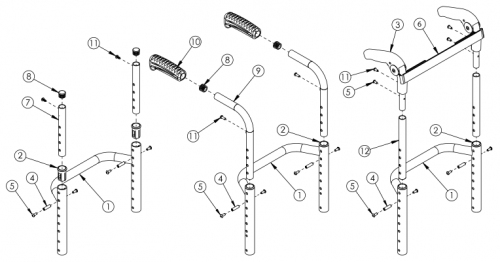 Ethos / Rogue Height Adjustable Back Post With Non-adjustable Height Rigidizer Bar parts diagram