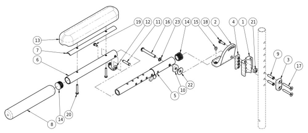 Pediatric Angle Adjustable Locking Extendable Flip Up Armrest parts diagram