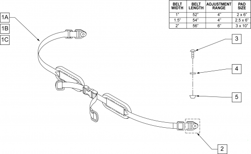 Padded Double Pull Hip Belts parts diagram