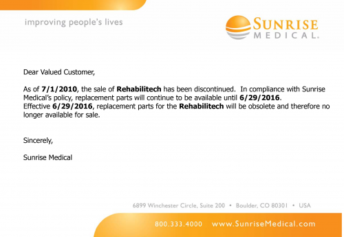 Rehabilitech Discontinued parts diagram