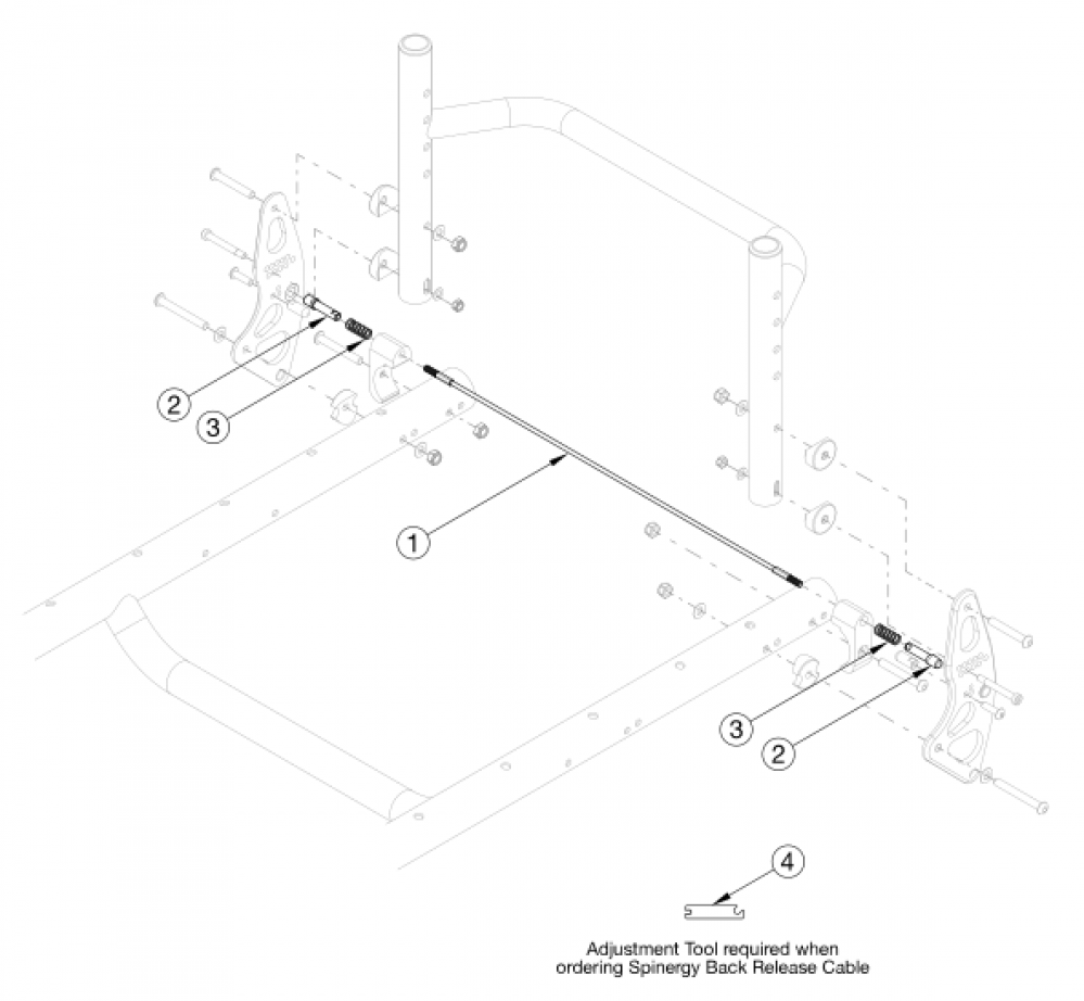 (discontinued) Rogue Backrest Mount And Hardware - Growth parts diagram