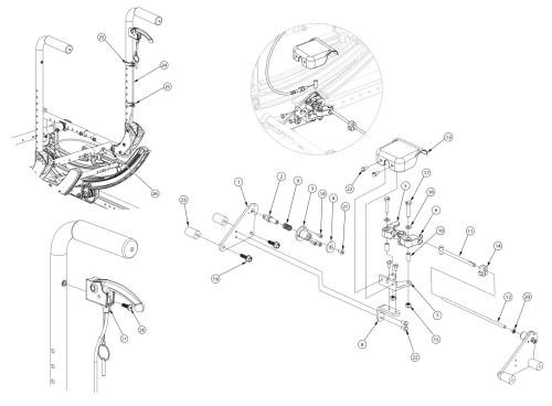 (discontinued 4) Focus Cr Hand Tilt Mechanism Stroller Handle Back parts diagram