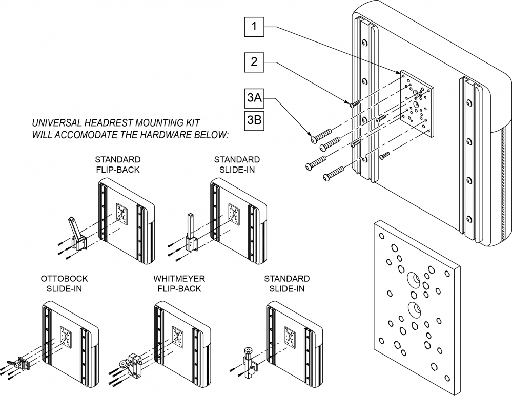Universal Headrest Mounting Kit parts diagram