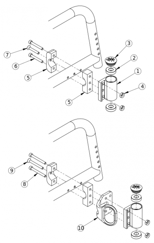 Catalyst 5 Standard Caster Housing For Fixed Front parts diagram