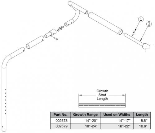 Focus Cr Removable Stroller Handle - Growth parts diagram