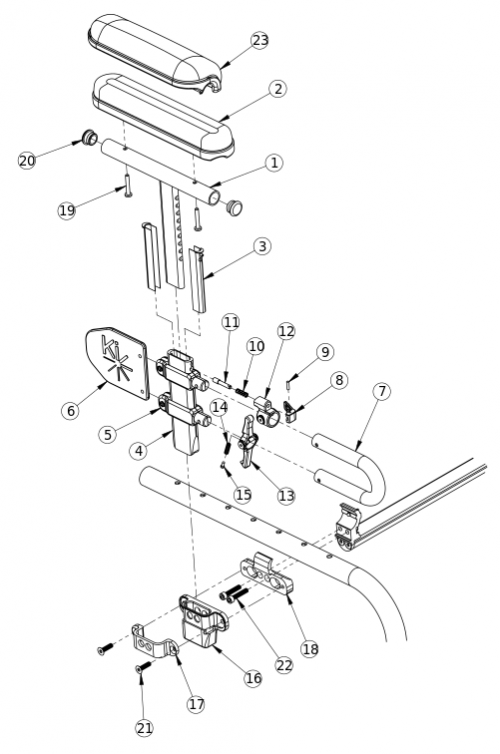 Clik Height Adjustable Low T-arm parts diagram