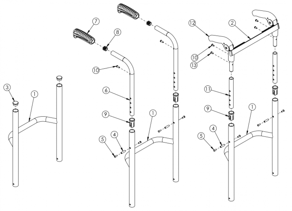 Rogue Style Fixed Height Back Post With Non-adjustable Height Rigidizer Bar On Tsunami parts diagram