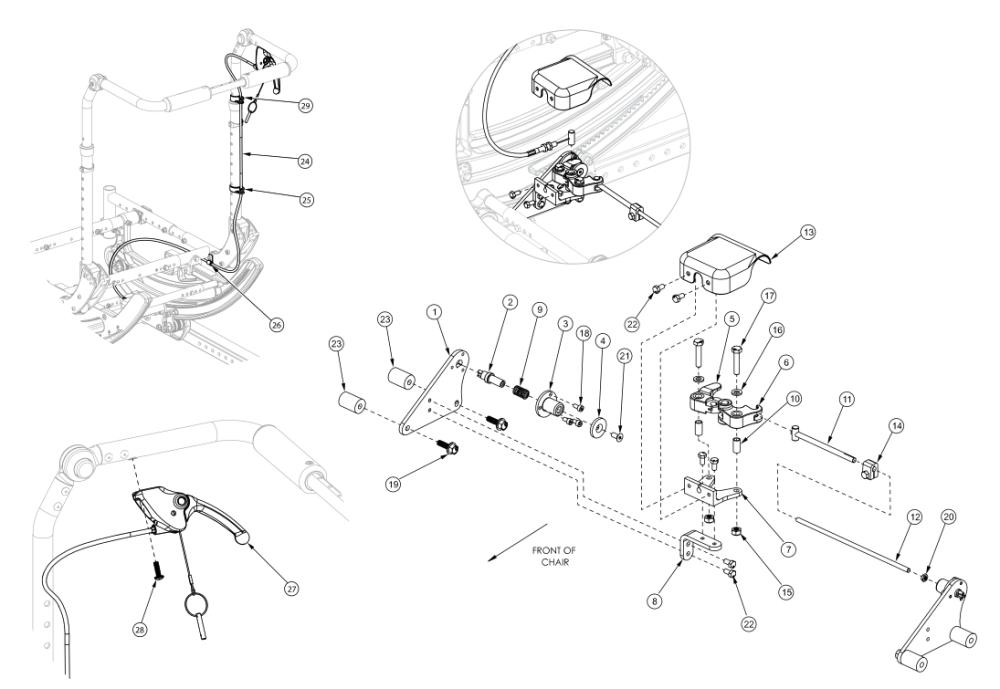 Focus Cr Hand Tilt Mechanism Adjustable Height With Adjustable Handle Back parts diagram