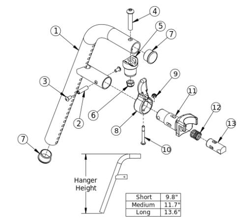 Liberty Ft 70 Degree Front Mount Hanger parts diagram