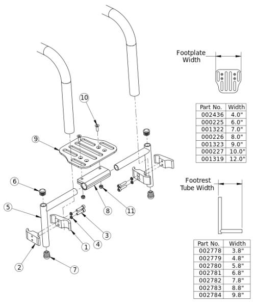 Clik High Mount Angle Adjustable Footrest parts diagram