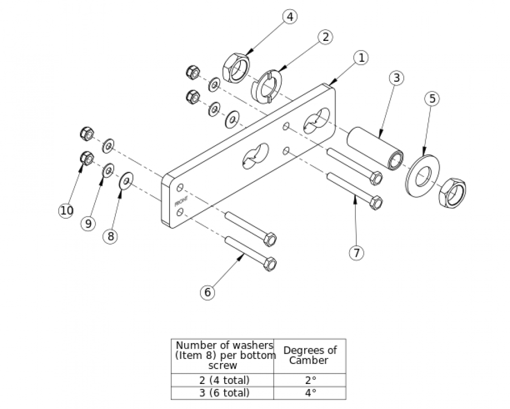 Catalyst 5 Amputee Axle Plate parts diagram