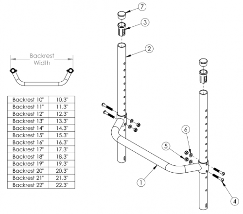 Tsunami Fixed Height Backrest With Adjustable Height Rigidizer Bar parts diagram