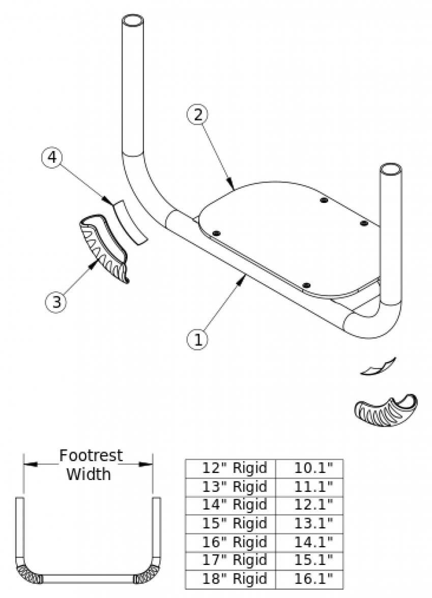 Rigid Tubular Footrest With Abs Cover parts diagram